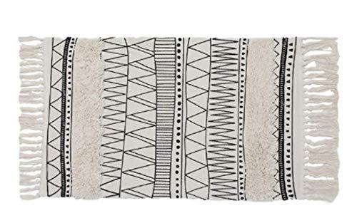 Cetticii Alfombra étnica Chic Negro y Crema con Flecos, 110x 60cm, Alfombra Alfombra Estilo Bohemia, Pueblo Bereber, escandinavo y nórdico