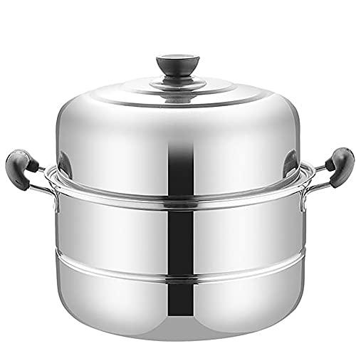 Vaporizador de acero inoxidable/olla de sopa Steamer engrosado de dos capas de la cocina de inducción para la estufa de gases del hogar (Size : 32cm)