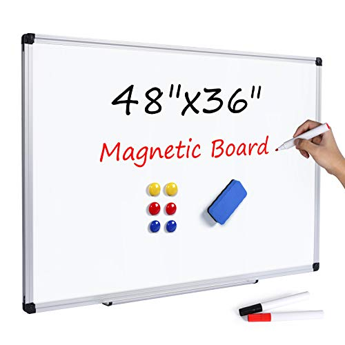 T-SIGN Magnetic Dry Erase Whiteboard 48 x 36 Inch, 4 x 3 Large White Board, Silver Aluminum Frame Wall-Mounted, Magnetic Eraser, 2 Whiteboard Pen, Detachable Marker Tray, 6 Magnets for Office, School