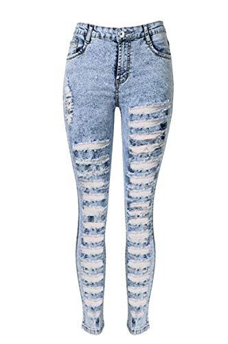 Dames skinny stijl jeansbroek met scheuren gaten jongens Chic Chern High Waist jeans met Stretch Slim Fit lichtblauw maat 34 44
