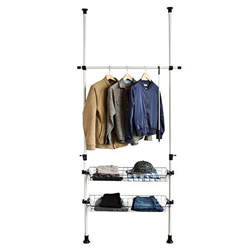 SoBuy FRG107 Teleskop Garderoben System mit 1 Kleiderstange und 2 Körben Kleideraufbewahrungssystem Regalsystem