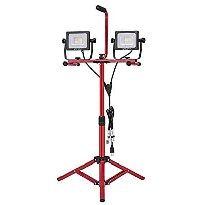 SPECSTAR 64W 6000 Lumen Dual Head LED Work Lights with Adjustable Tripod Stand, IP65 Waterproof, 5000KDaylight White