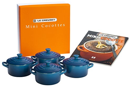 Le Creuset Stoneware Set of 4 Mini Cocottes with Cookbook, 8 oz. each, Marseille