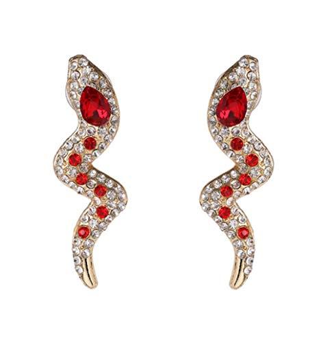 Pendientes para Mujer Acrílico Rojo Rhinestone Serpiente en Forma de Largo Rojo Verde Cristal Colgante Stud Pendientes Joyas para niñas