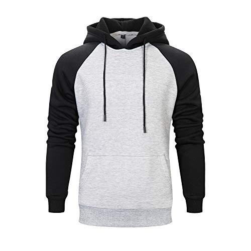 ZAPZEAL Herren Basic Kontrast Kapuzenpullover Sweatjacke Pullover Hoodie Sweatshirt Hell Grau XL