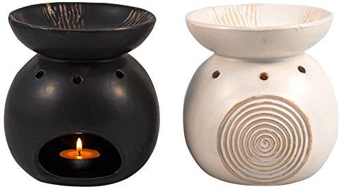 Duftlampe Duett Relief, sort. weiß/schwarz