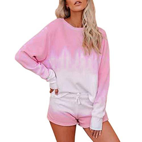 MRULIC Damen Langarmshirt Und Shorts Tie Dye Bekleidungssets Trainingsanzug Sets Freizeitkleidung Lounge Wear Anzug NachtwäSche(Rosa,XL)