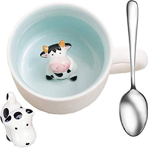 Tazas de café de cerámica con diseño de vaca con diseño de animales, creativas para hombres y mujeres con manualidades, porcelana pequeña vaca y cuchara para agua potable, resistente al calor, 350 ml