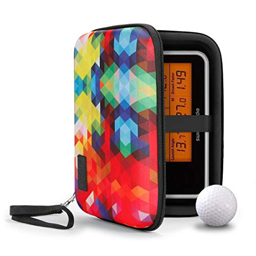 USA GEAR Golf Monitor Case - Swing Caddie Hard Case Compatible with - Swing Caddie SC300, SC200 Plus, and More Golf Accessories - Water Resistant Exterior and Scratch Resistant Interior (Geometric)