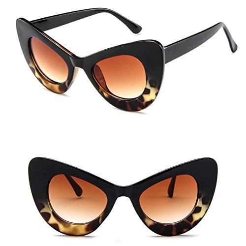 YOULIER Blanco Big Cat Eye Mujeres Gafas de sol Moda Clásico Señora Gafas De Sol Colorido Leopardo Gafas UV400 Blackleopard