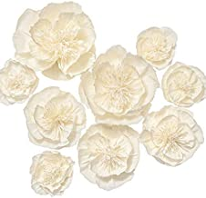 Ling's moment Paper Flower Decorations Set of 9(8''-4'' Assorted), Handcrafted Artificial Crepe Paper Peony for Wall Nursery Wedding Backdrop Bridal Shower Centerpiece Monogram 15th Birthday(Cream)
