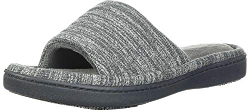 isotoner Women's Andrea Open Toe Slide Slipper with Moisture Wicking for Indoor/Outdoor Comfort and Arch Support, Ash, 6-7