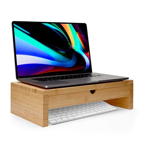 TickleBrick Mini soporte de bambú para monitor y escritorio con cajón con múltiples compartimentos, estación de acoplamiento, soporte para ordenador portátil, soporte para teléfono y tableta