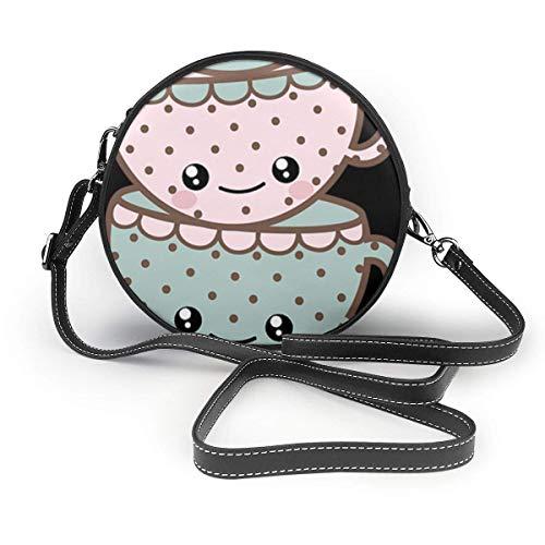 Niedliche Cartoon Smile Face Kaffeetasse Damen Slant Bag, personalisierte Einzelschulter Tasche, Date Bag Tourist Bag