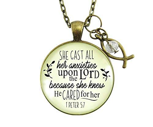 """Gutsy Goodness 24"""" Christian Necklace She Cast Anxieties Bible Word Jewelry Fish Charm"""