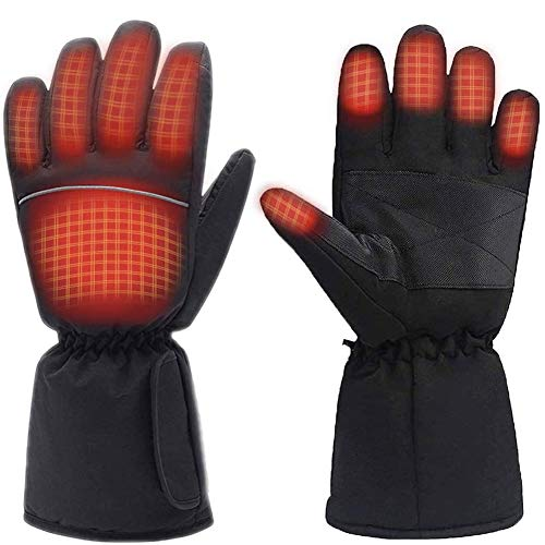 Moliter Heated Gloves, Battery Powered Electric Heat Gloves for Women and Men, Waterproof Winter Thermal Gloves, Warm Touchscreen Gloves for Outdoor Sports Cycling Riding Skiing Skating Hiking Hunting