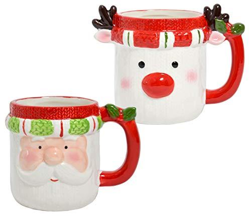Tazza di Natale con viso – 350 ml in ceramica con manico, design amorevole – per bevande calde e fredde – Babbo Natale, renna, vin brulé, set da 2 pezzi