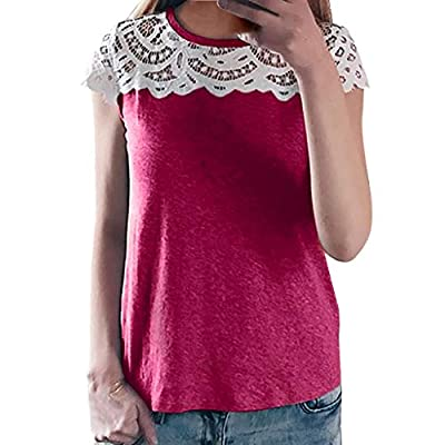 RAINED-Womens Shirts Lace Patchwork Tops Sleeveless Blouse Flare Tees Ruffles Cute Floral Shirt Pullover Casual Tops