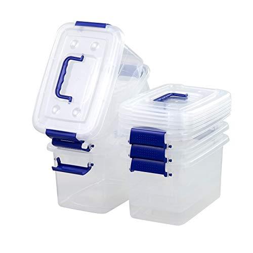 Eudokky Aufbewahrungsbox mit Deckel, transparent, 5,5 l, 6 Stück