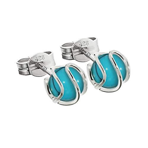 NKlaus silver pair of ball earrings 925 sterling silver sphere turquoise earrings 7mm ladies 7853