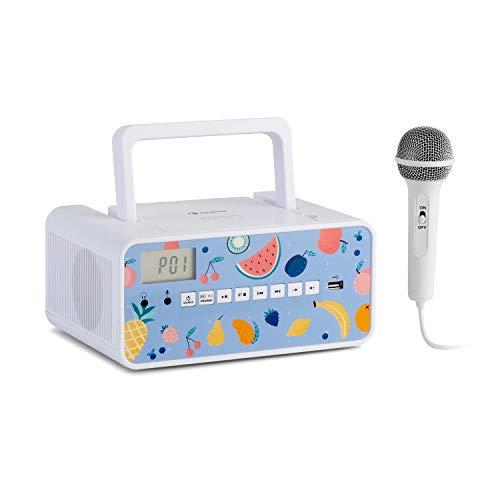 auna Kidsbox - CD Boombox, CD-Player, Handmikrofon, Bluetooth, USB-Port, LC-Display, Strom/Batteriebetrieb, 3,5 mm Klinkenanschluss für Kopfhörer, weiß