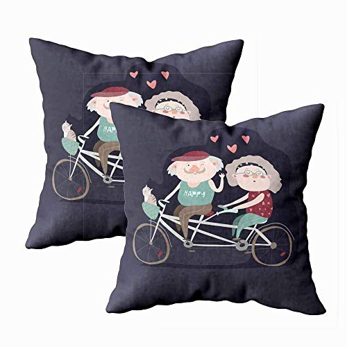 N / A Kissenbezug, quadratisch beidseitig Kissenbezüge Pack 2 Packen für ältere Paare, Fahrrad-Tandem für Kinder Kissenbezug