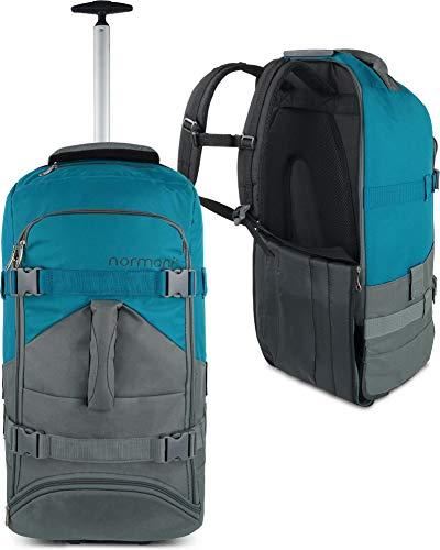 normani Backpacker Reisetaschen-Rucksack mit Trolleyfunktion - Trolley mit Frontloader Funktion und vielen Taschen 60 Liter Farbe Grau/Petrol