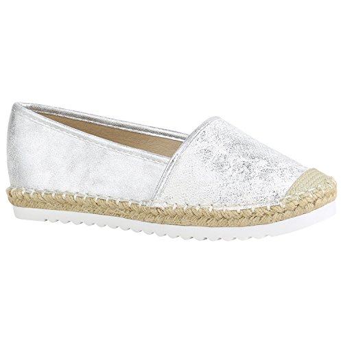 stiefelparadies Damen Espadrilles Bast Slipper Glitzer Sommer Schuhe 155371 Silber Brito 36 Flandell