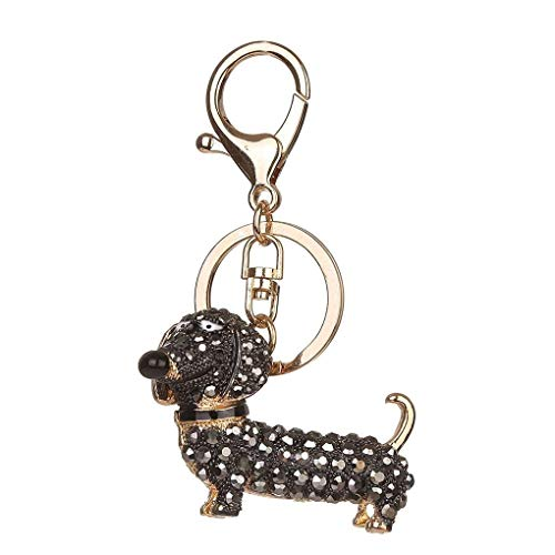 Forbestest Metal Rhinestone Sausage Dog Keychain Cartoon Animal Dachshund Puppy Key Ring Shoulder Bag Key Chain