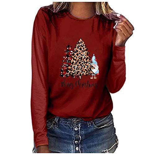 Yowablo Damen Langarmshirt Sweatshirt Rundhals Ausschnitt Oversize Hemd Jumper Bluse Tops Frohe Weihnachten-Print (XL,2- Wein)
