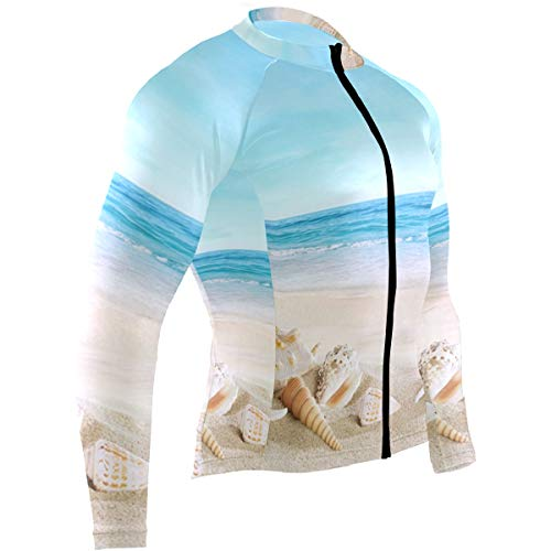 SLHFPX Sea Shell On Beach Travel Mens Cycling Jersey Coat Long Sleeve Mountain Biking Apparel Outfit