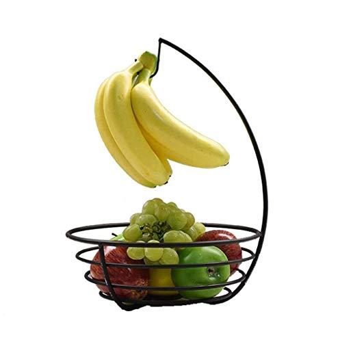 AWCPP Placa de Fruta Simple Árbol de Plátano con Gancho de Plátano Y Tazón de Fruta, Nueces de Bocadillos de Hierro Forjado Negro Cesta de Frutas Secas