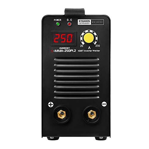 Stamos Germany S-MMA-250PI.2 Poste à Souder à l'Arc Poste a Souder Inverter MMA Soudage Soudure (250 A, 230 V, Écran LED, Hot Start, IGBT, Câble de 8m)