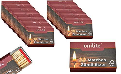 jameitop® Streichhölzer 60 Schachteln Feuer/Holz Zündholzschachtel Zündhölzer 2280 Stück Sicherheitszündhölzer, 45mm