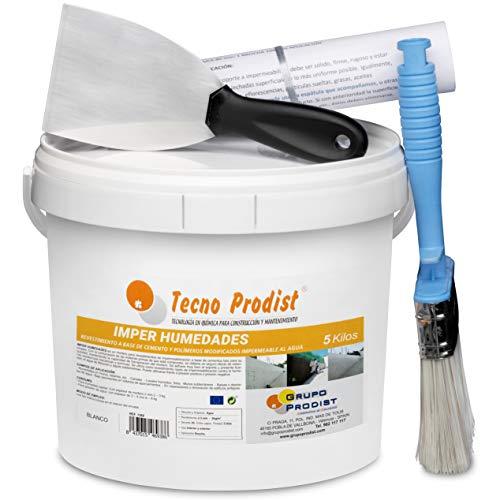 IMPER HUMEDADES de Tecno Prodist - (5 Kg + Kit) - Mortero para revestimiento de Paredes. Impermeabilización. Tratamiento humedades muros, sótanos, etc. Impermeable al agua, fácil de usar + Accesorios