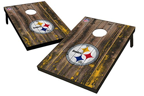 Wild Sports NFL Pittsburgh Steelers 2' x 3' MDF Deluxe Cornhole Set - with Corners and Aprons, Team Color