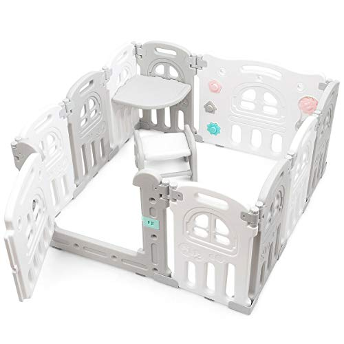 Best Price! Baby Playpen 10-Panel Foldable Activity Play Space Centre with Tray Table-Desk Outside L...