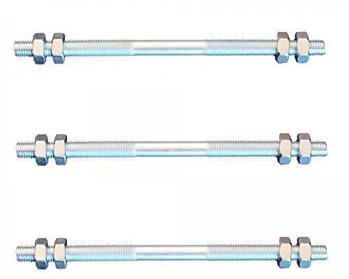 FKAnhängerteile 3 Stück Gewindestange M8 Rechts - Links Gewinde 300 mm + 12 Muttern
