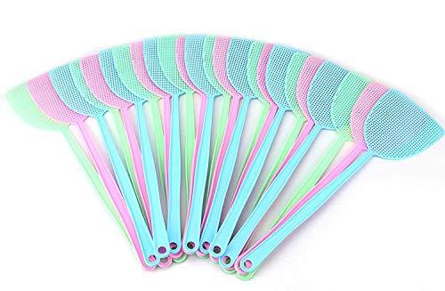 Tebery Paquete de 24 Moscas de plástico Swatter Fly Swatter, 17.5 '' Helle Fly Swatter, ayudante de Cocina y hogar, 3 Colores de Verano