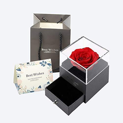Queta Rosa Eterna, Rosa Preservada Eterna Hecha a Mano Caja de Joyería Joyero de Regalo para el Día de San Valentín Aniversario de Bodas Día de la Madre Navidad Cumpleaños Regalos Románticos (Gris-1)
