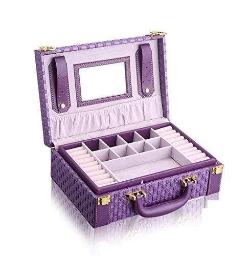 SMSOM Caja de joyería de joyería de Pelusa de Dos Capas Mostrar Caja de Almacenamiento con Bloqueo de joyería Exquisita de Moda Caja de joyería Hecha a Mano de joyería, púrpura (Color : C)