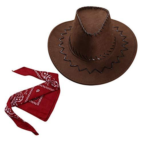 inlzdz Unisex Kinder Cowboy Kostümzubehör Set - Western Wildlederoptik Cowboyhut mit Bandana Halstuch Karneval Fasching Party Outfit Rot&Kaffee One Size