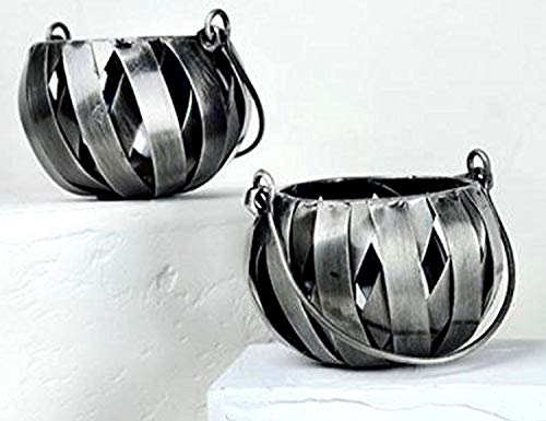 AllAsta Votive Tealights Candle Holders Recycled Metal Industrial Silver Pewter Round Globe Lantern Set of 2