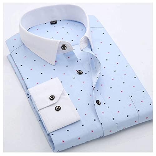 ZMMDD Camisas informales estampadas para hombres de moda para jóvenes, manga larga, suave, fino, ligero, ajuste regular, nueva camisa de vestir floral de primavera ( Color : Blue2 , Size : 38 code )