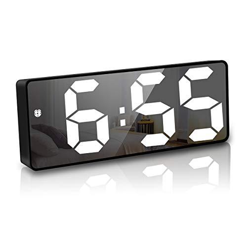 JQGo Reloj Despertador Digital, Pantalla LED Espejo Grande, Alimentado por Batería, Alarma Activada por Sonido, con Pantalla de Fecha y Temperatura Función Despertado, Negro