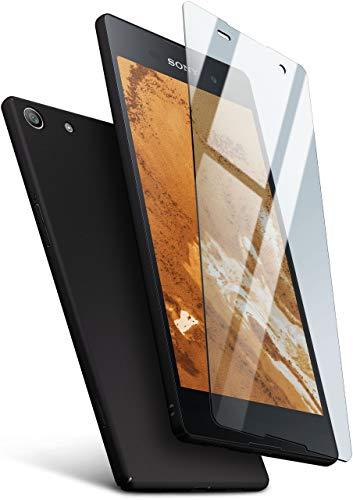 moex Hardcase kompatibel mit Sony Xperia M5 - Hülle Ultra dünn mit Panzerglas Schutzfolie, Slim Hülle Handyhülle beidseitig, matt Schwarz