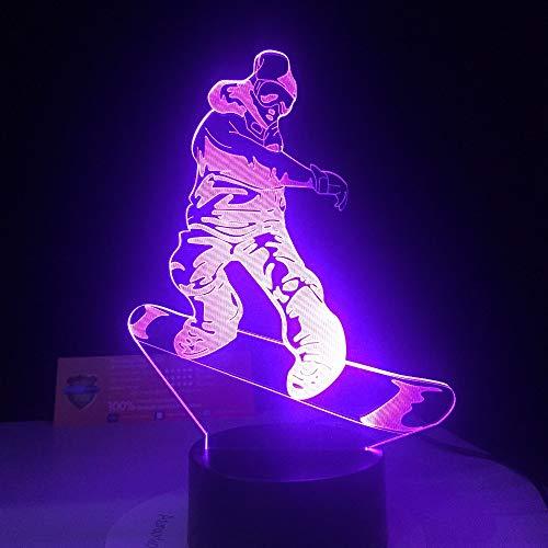 HHANN 3D Illusion Lampen Led Nachtlicht Snowboard Illusion Lampe Kinder Deko Licht Stimmungslicht Nachttischlampe 16 Farben Fernbedienung Ändern Touch Switch Schreibtisch Lampen Geburtstagsgeschenk