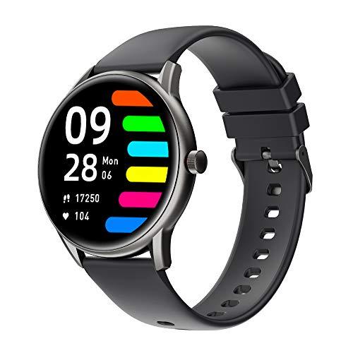 Smartwatch,Reloj Inteligentecon Impermeable IP68 con Pulsómetro Cronómetros,13 Modos Deportivos,Monitor de Sueño Podómetro Pulsera Pulsómetros Hombre y Mujer Reloj Deportivo para Android iOS (Negro-)