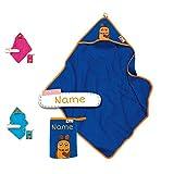 DIE Maus Baby Kapuzenhandtuch Set mit Waschlappen | Baby Handtuch Kapuzenbadetuch | personalisiert mit Name | Baby Badetuch Bestickt mit Namen | Jungen Mädchen (dunkelblaue Maus)