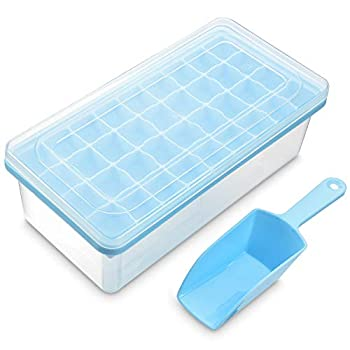 Ice Cube Tray With Lid and Bin - Silicone Ice Tray For Freezer | Comes with Ice Container Scoop and Cover | Good Size Ice Bucket  Blue